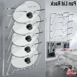 Wall Mount Pot Cover Pan Lid Storage Rack Organizer Kitchen