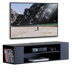 FITUEYES Wall Mounted Audio/Video Black Wood Grain for Xbox