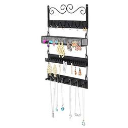 Wall Mounted Black Metal 18 Hook Hanging Jewelry, Earrings,