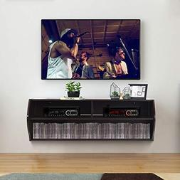 Tangkula Wall Mounted Console, 2 Tier Modern Wall Mount Stor