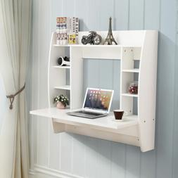 White Floating Wall Mounted Office Computer Desk Home Office
