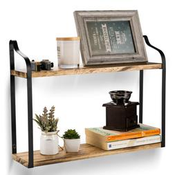 Wood Floating Display2-Tier Shelves Wall Mount Storage Books